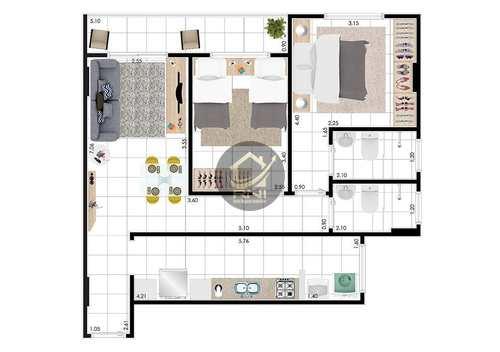 Apartamento, código 61753203 em Praia Grande, bairro Guilhermina
