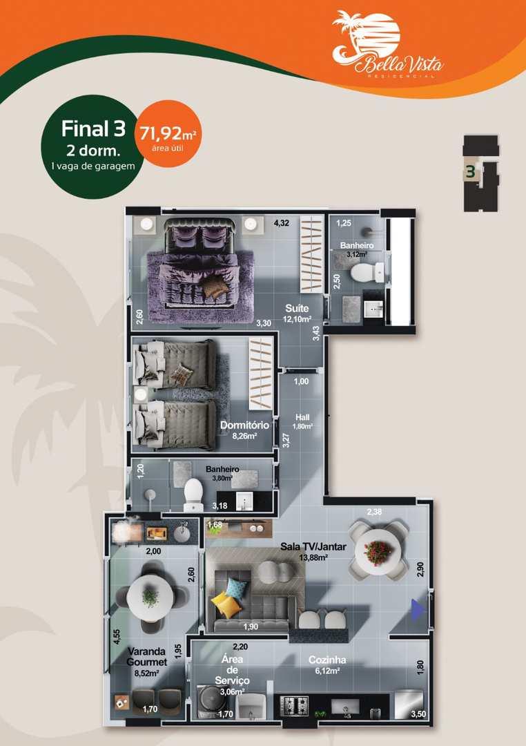 Apartamento com 2 dorms, Centro, Itanhaém - R$ 517 mil