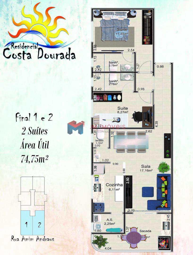 Apartamento com 2 dorms, Caiçara, Praia Grande - R$ 382.430,00, 74,75m² - Codigo: 413519