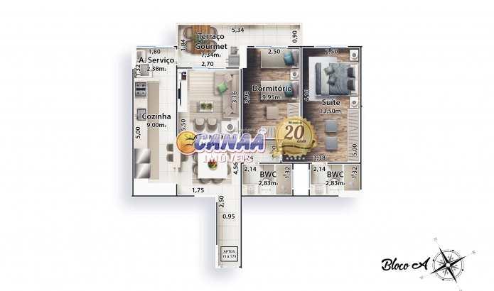 Apartamento com 2 dorms, Boqueirão, Praia Grande - R$ 540 mil, Cod: 7501