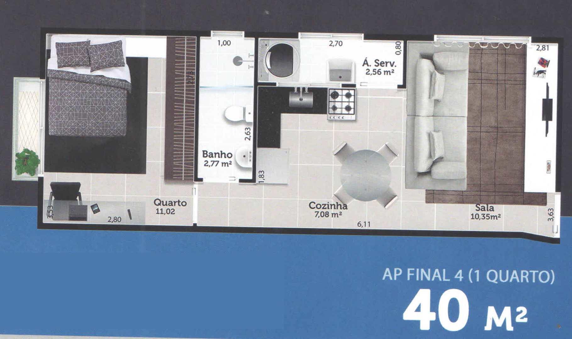 Apartamento com 1 dorm, Vila Nova, Cubatão - R$ 185 mil, Cod: 24830