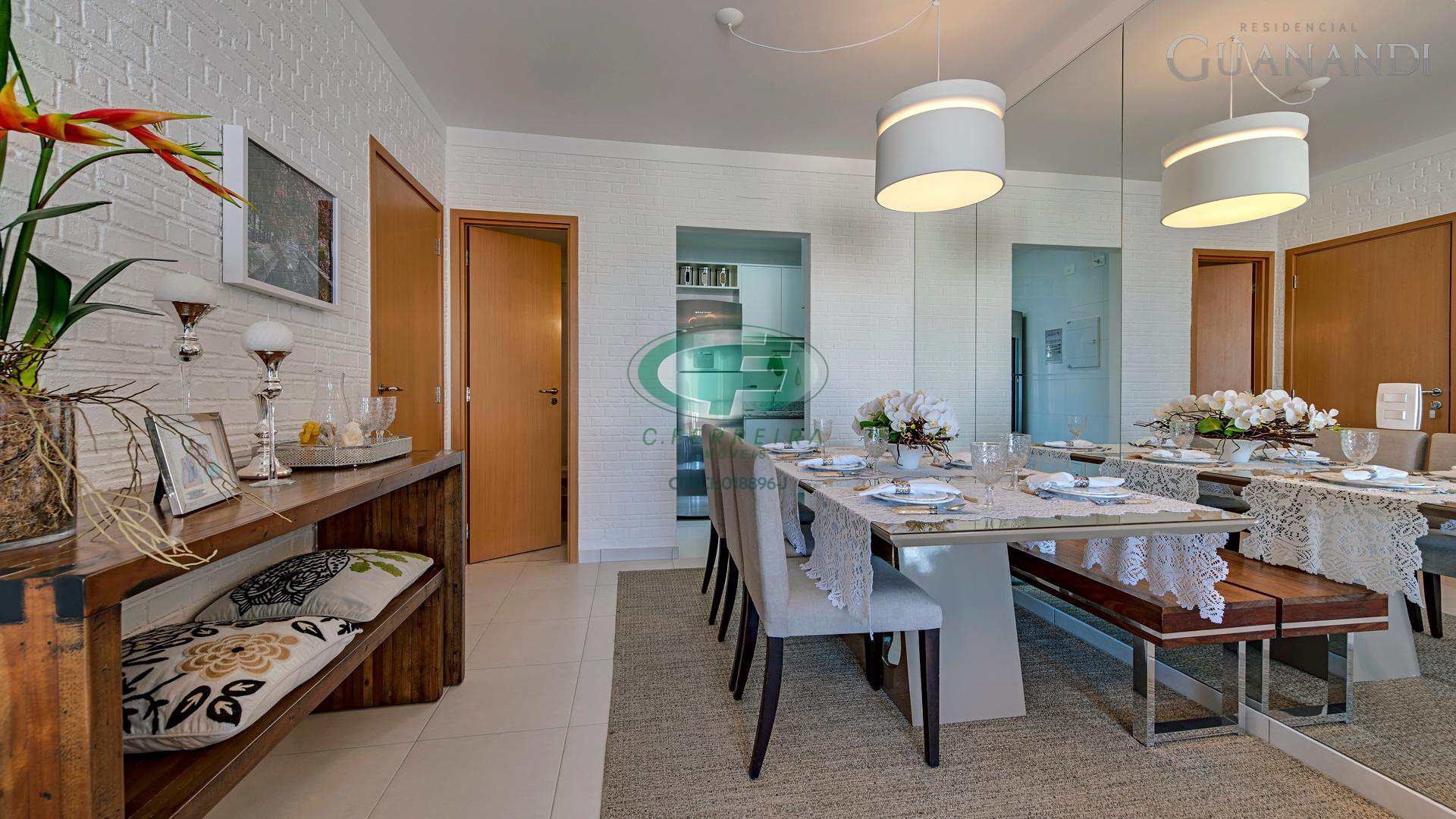 Residencial Guanandi - Rua Bahia, 111, Gonzaga, Santos, SP,  -Sala de estar e jantar com varanda mobiliável, lavabo, 2 suítes, cozinha e área de serviço.