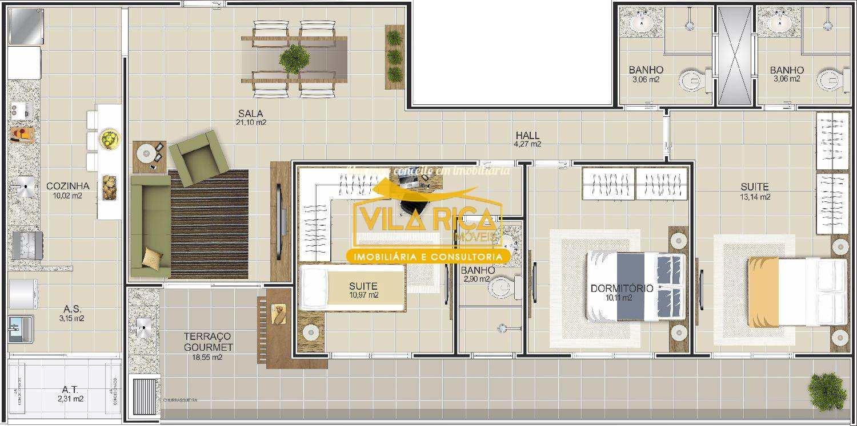Apartamento com 3 dorms, Canto do Forte, Praia Grande - R$ 572 mil, Cod: 375767
