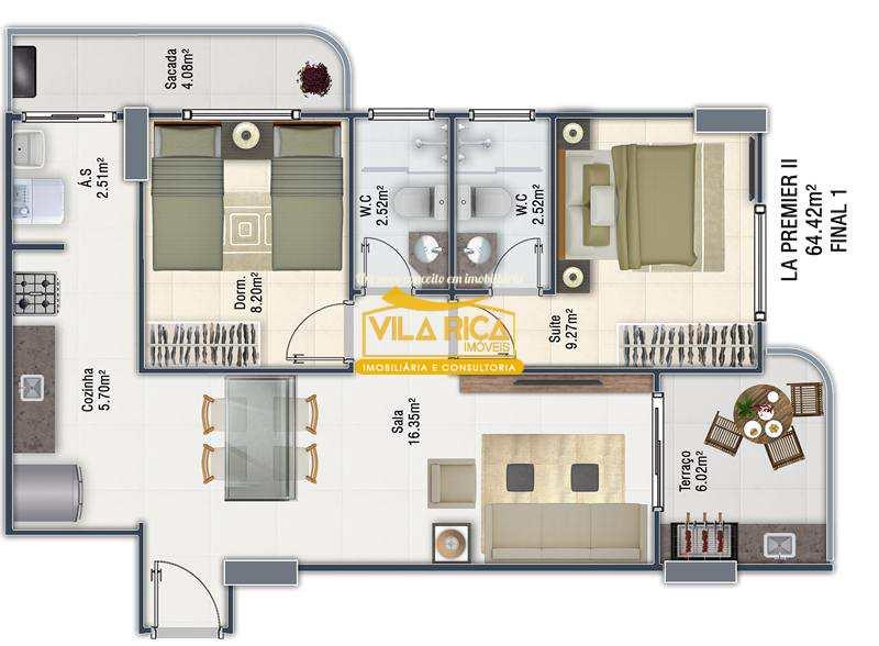 Apartamento com 2 dorms, Guilhermina, Praia Grande - R$ 274 mil, Cod: 376106