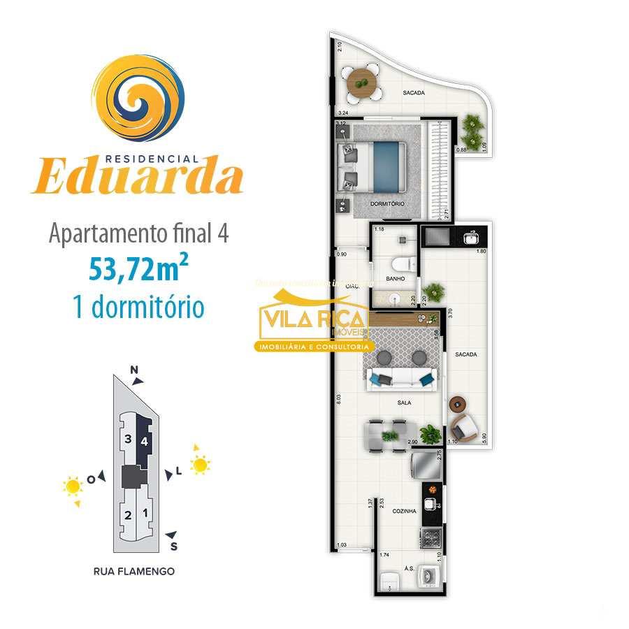 Apartamento com 1 dorm, Guilhermina, Praia Grande - R$ 283 mil, Cod: 376750