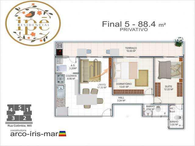Espaçoso apartamento novo com lazer completo no bairro Guilhermina em Praia Grande/SP.