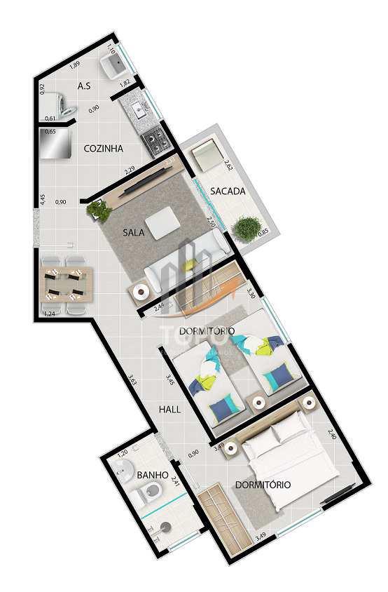 Apartamento com 2 dorms, Tupi, Praia Grande - R$ 245 mil, Cod: 3899