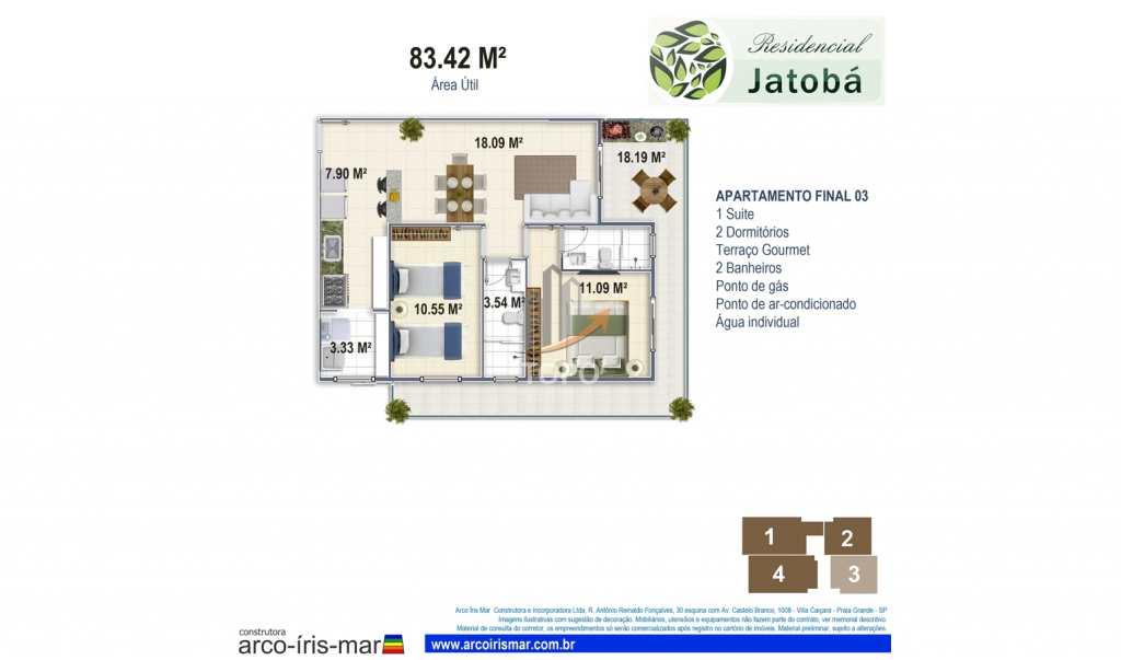 Apartamento com 2 dorms, Boqueirão, Praia Grande, Cod: 4667