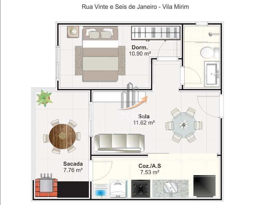 Apartamento com 1 dorm, Mirim, Praia Grande - R$ 185 mil, Cod: 5077