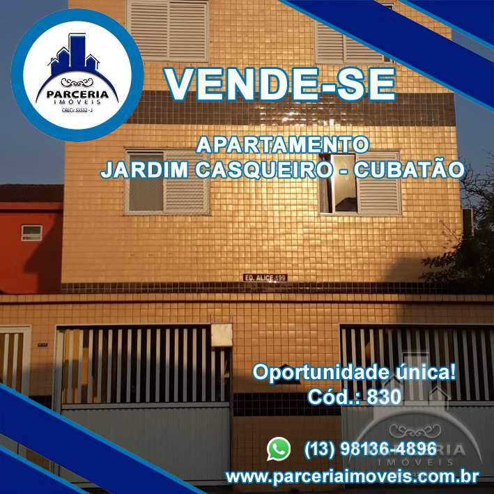 Apartamento com 2 dorms, Jardim Casqueiro, Cubatão - R$ 220 mil, Cod: 830
