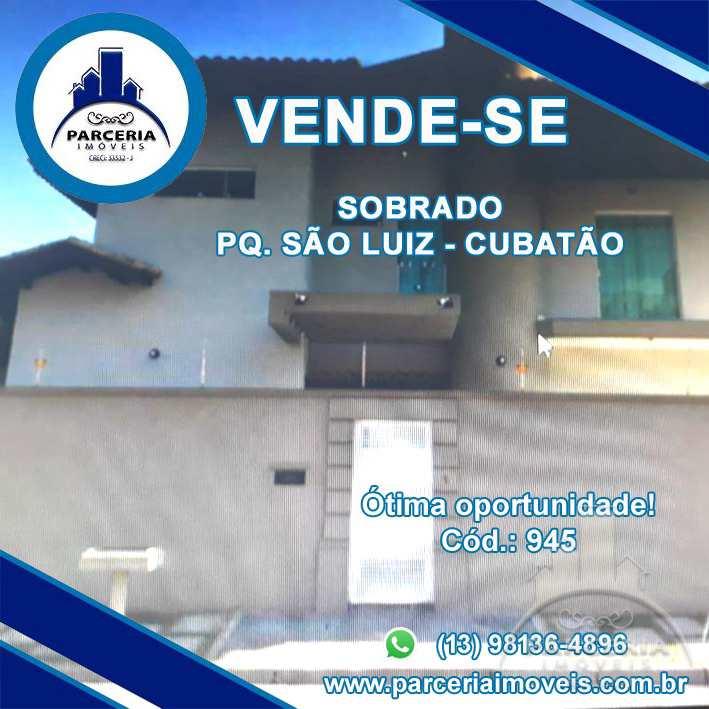 Sobrado com 3 dorms, Parque São Luis, Cubatão - R$ 950 mil, Cod: 945