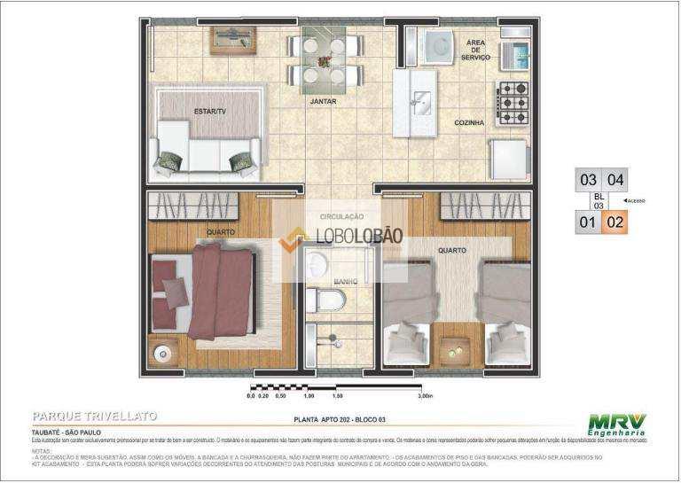 2 dormitórios - 2º opção