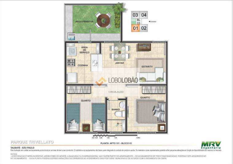 2 dormitórios com área privativa