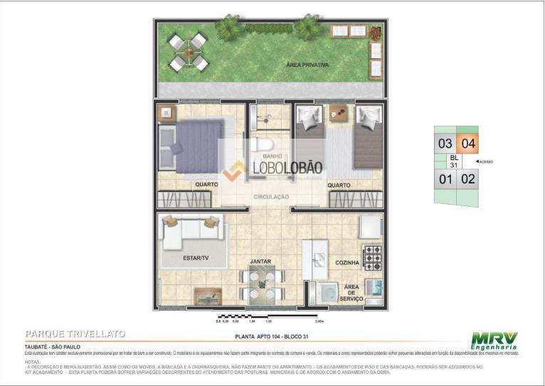 2 dormitórios com área privativa - 2º opção