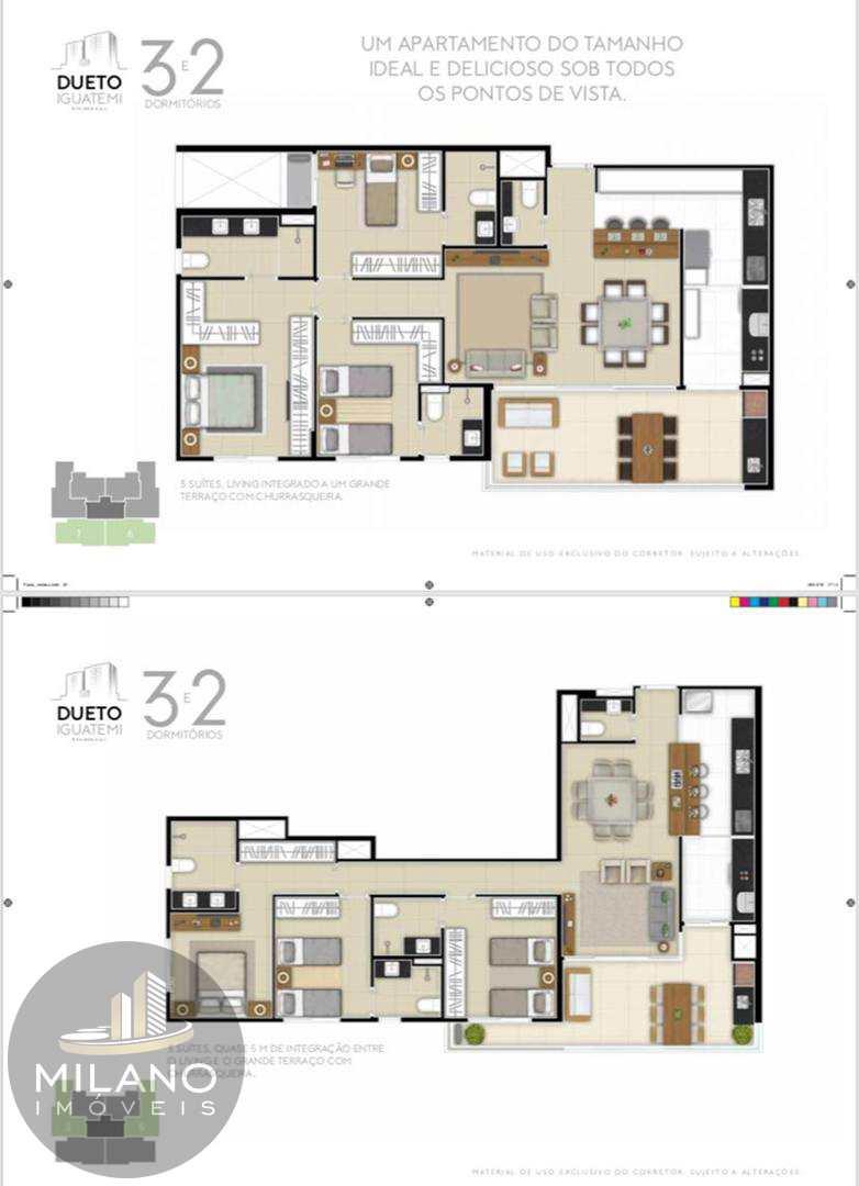 plantas de 2 e 3 suites