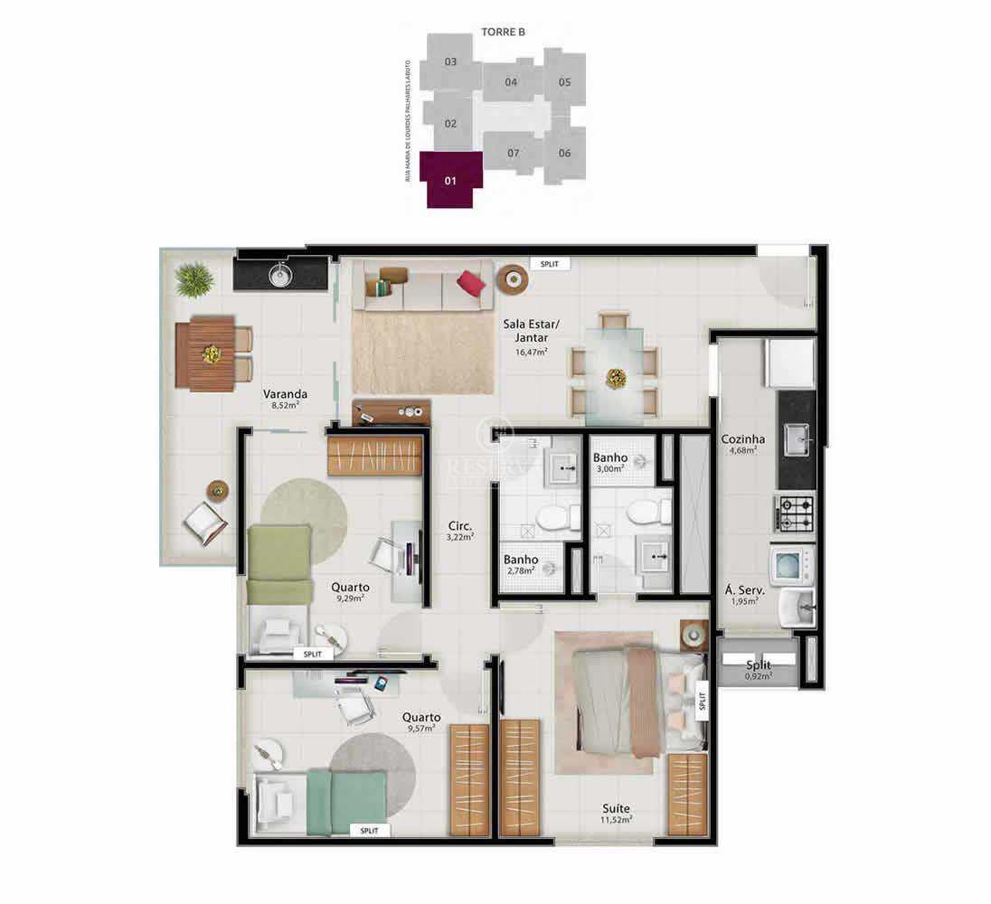 Apartamento com 3 dorms, Jardim da Penha, Vitória - R$ 739 mil, Cod: 506