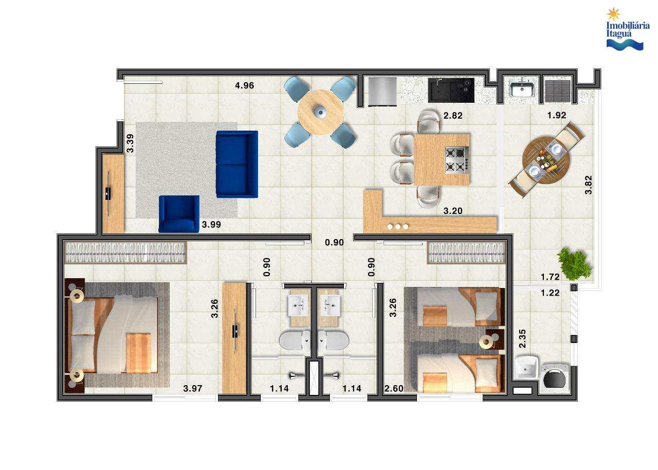 Apartamento com 2 dorms, Itagua, Ubatuba - R$ 278 mil, Cod: AP1197