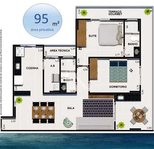 Apartamento com 2 dorms, Guilhermina, Praia Grande - R$ 448 mil, Cod: 3991