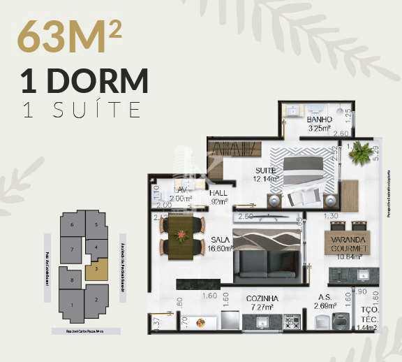 Apartamento com 1 dorm, Caiçara, Praia Grande - R$ 239 mil, Cod: 5245