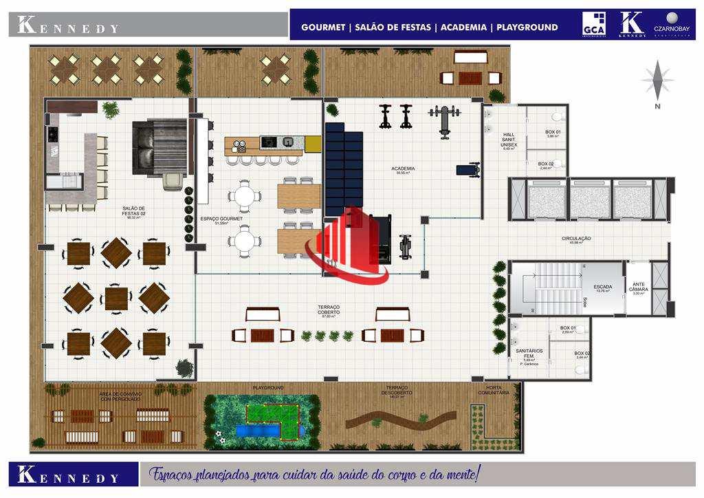 Planta Humanizada Salão de Festas e Academia