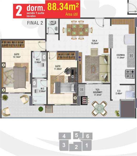 Apartamento com 2 dorms, Canto do Forte, Praia Grande - R$ 450 mil, Cod: 2425