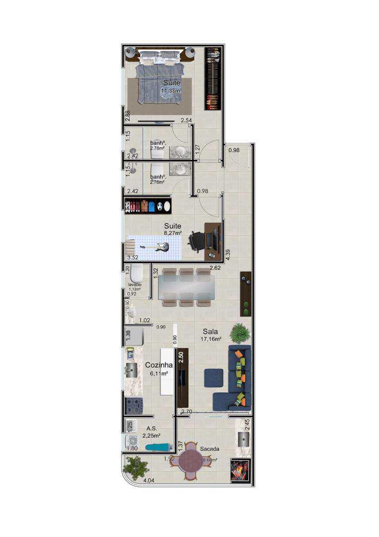 Apartamento com 2 dorms, Caiçara, Praia Grande - R$ 345.000,00, 75m² - Codigo: 4583