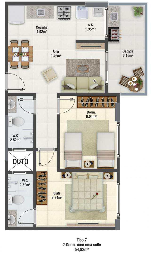 Apartamento com 2 dorms, Guilhermina, Praia Grande - R$ 246 mil, Cod: 5049