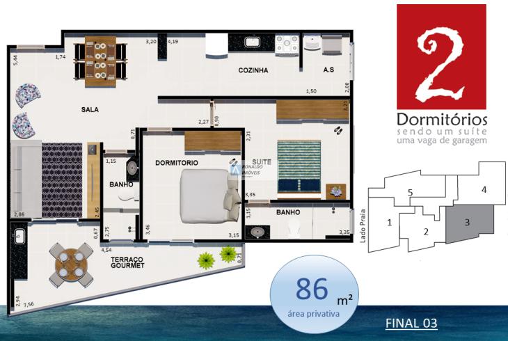 Apartamento com 2 dorms, Guilhermina, Praia Grande - R$ 443 mil, Cod: 1955