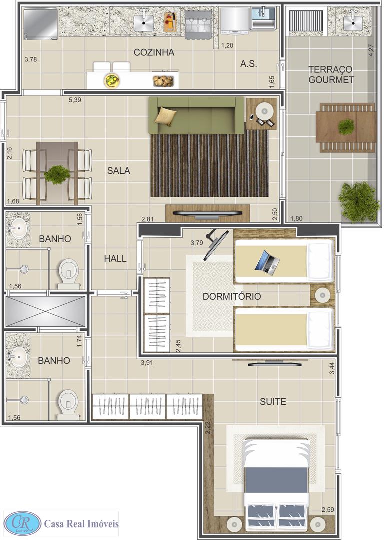 Apartamento com 2 dorms, Ocian, Praia Grande - R$ 355 mil, Cod: 352