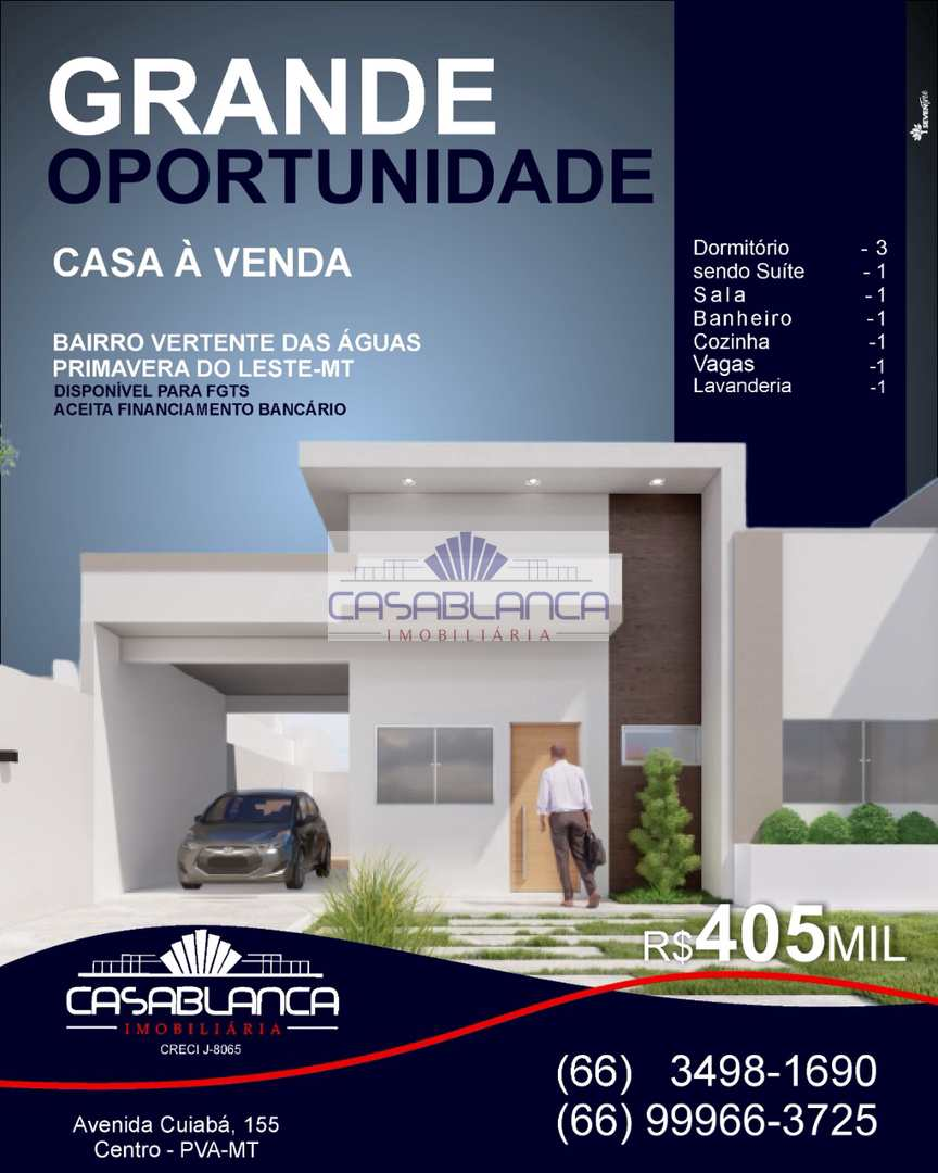 Casa com 3 dorms, Vertentes das Águas, Primavera do Leste - R$ 410 mil, Cod: 986