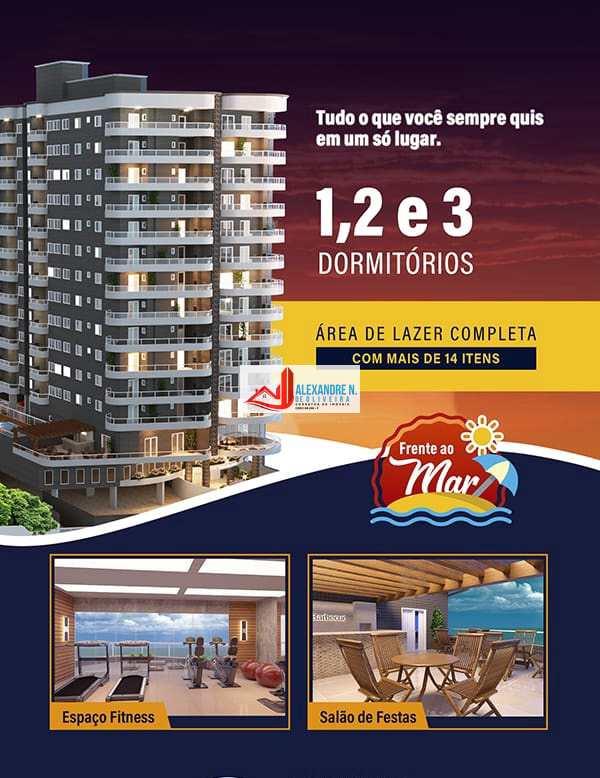 Frente para o mar 1, 2 e 3 dormitórios c/ sacada gourmet, na Vila Caiçara, financiamento direto com a construtora em 120 meses para pagar.