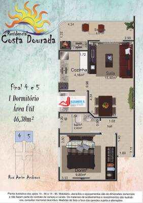 Apto 1 dorm, sacada gourmet, Praia Grande, R$ 21 mil, AP00531