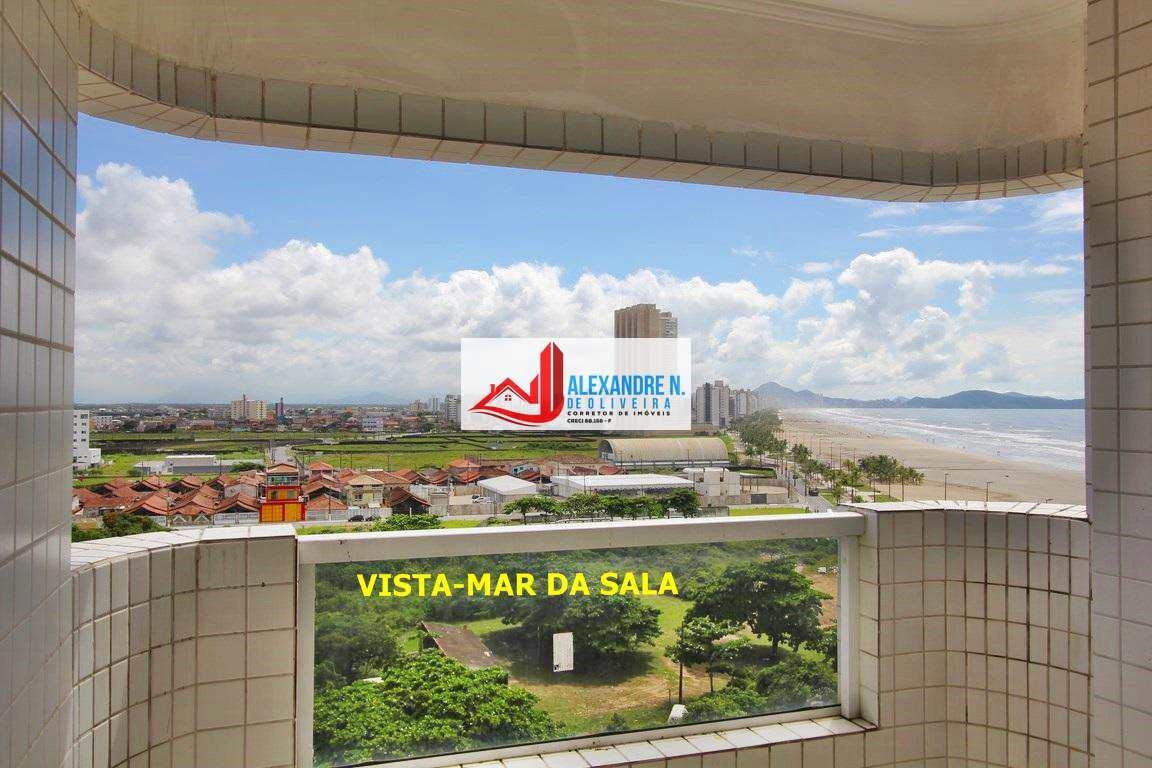 Vista ao mar, 2 dorms, Mirim, Praia Grande, R$ 330 mil, AP00546