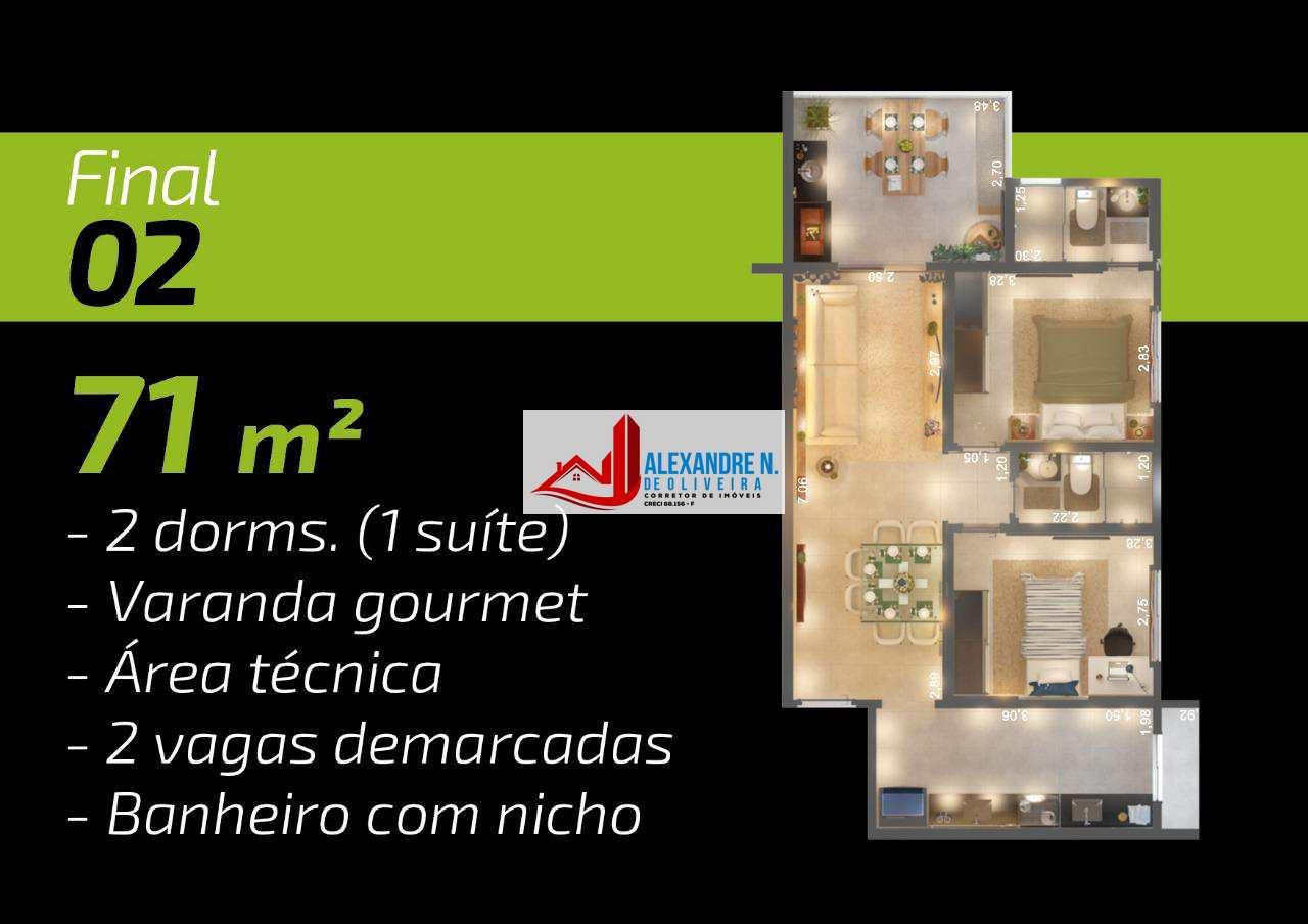 Apto 2 dorms, Canto do Forte, Praia Grande, R$ 332 mil, AP00582