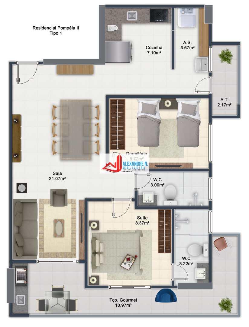 Apto 2 dorms, Ocian, Praia Grande, Entr. R$ 35 mil, AP00665