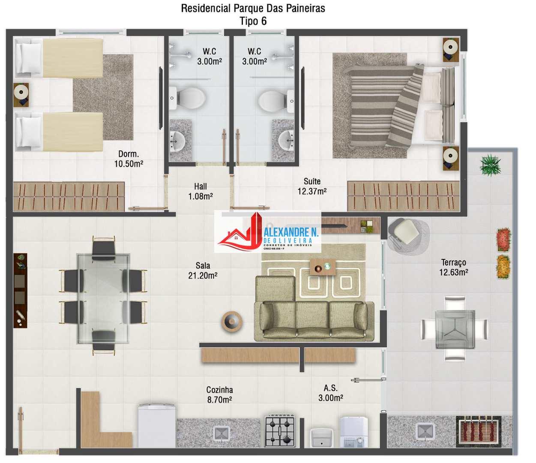 Frente mar 2 dorms, Praia Grande, Entr. R$ 53 mil, AP00712