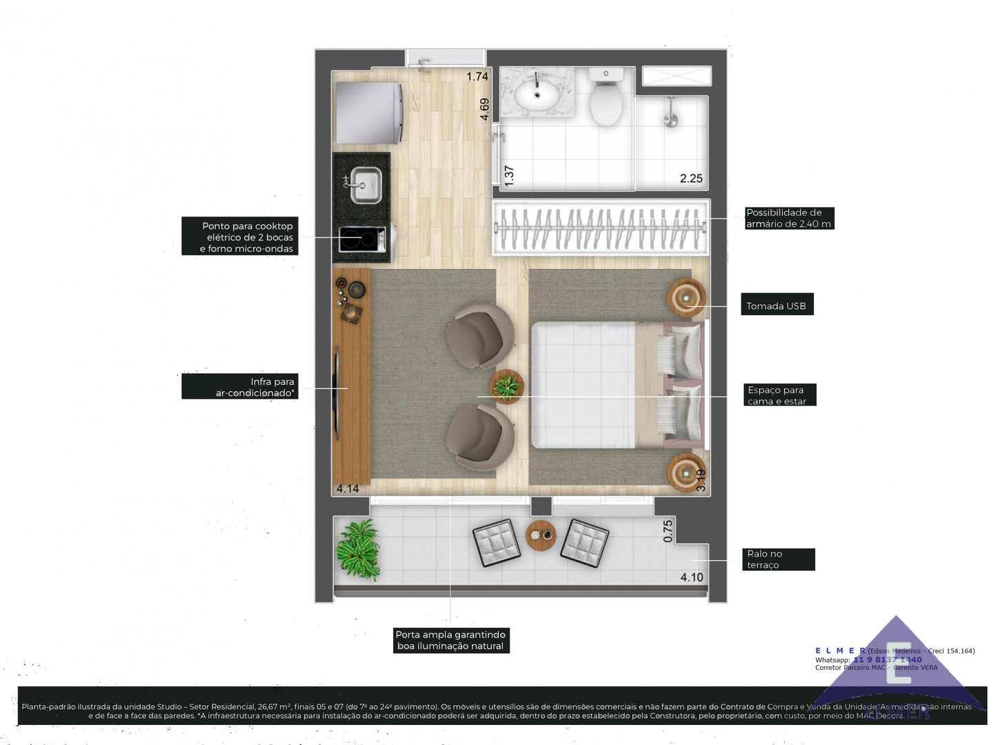 Planta Studios 26 m² -IS CONSOLAÇÃO - ELMER