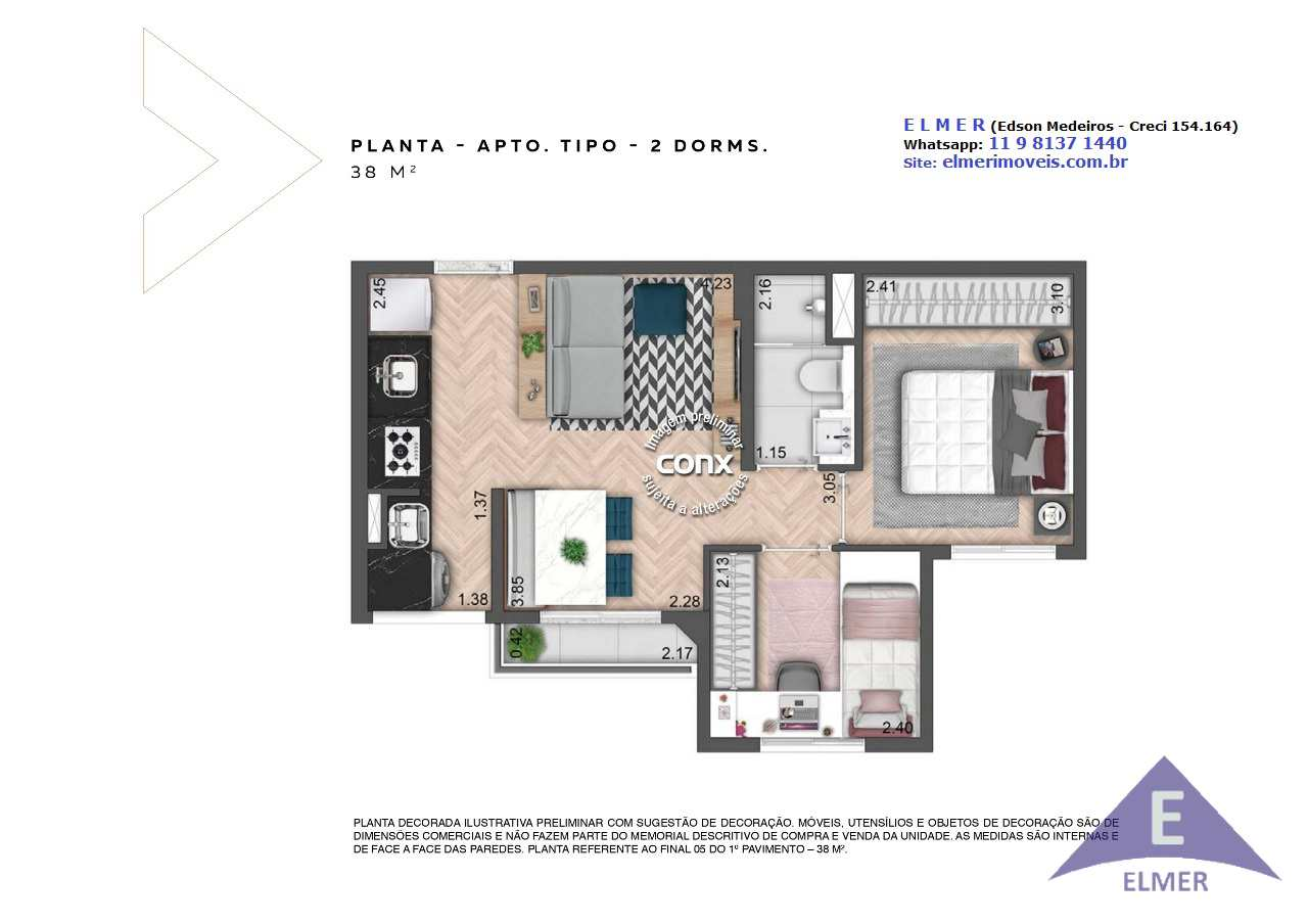 NEOCONX IMIRIM - Planta 38 m² - 2 dorm - ELMER