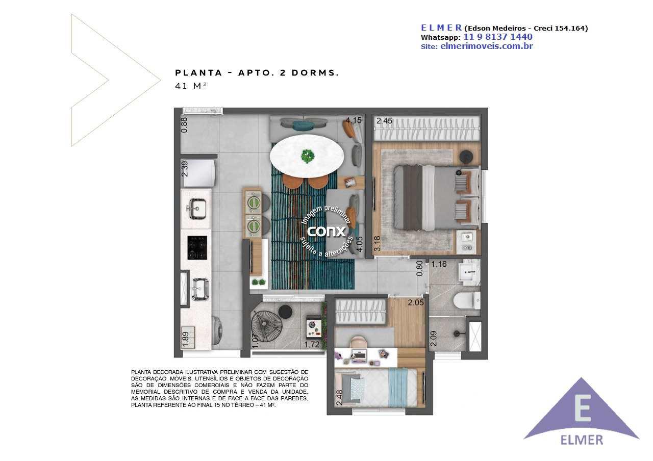 NEOCONX IMIRIM - Planta 41 m² - 2 dorm - ELMER