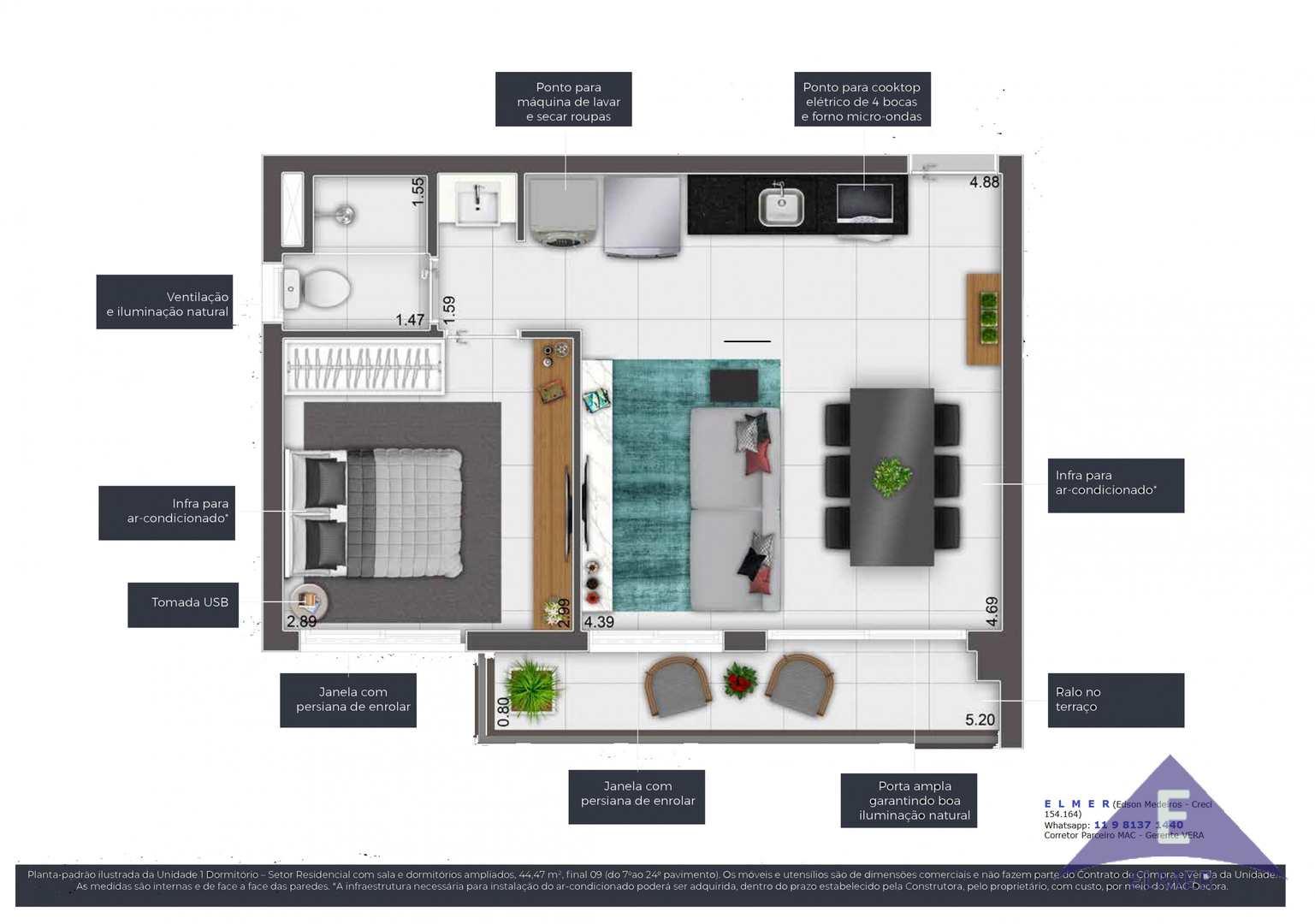 Planta 44 m² - IS CONSOLAÇÃO - ELMER