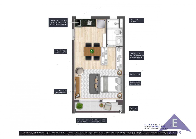 Planta 37 m² -IS CONSOLAÇAO - ELMER