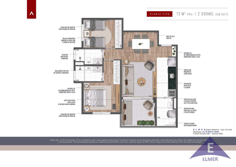 Planta tipo 72m² - ELMER - Lounge71