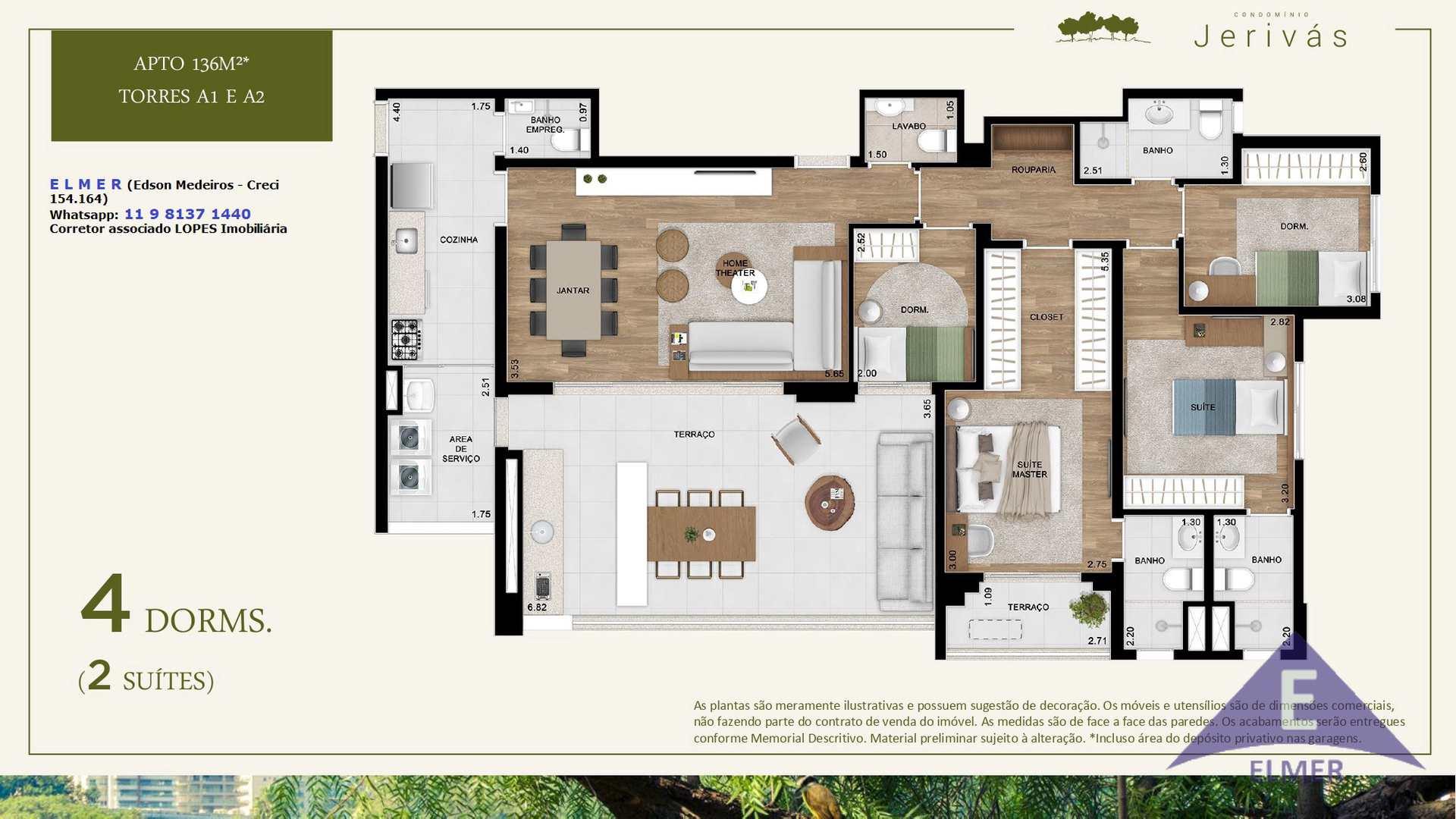 JERIVAS - Planta 136 m² - Torres A1 e A2 - E L M E R