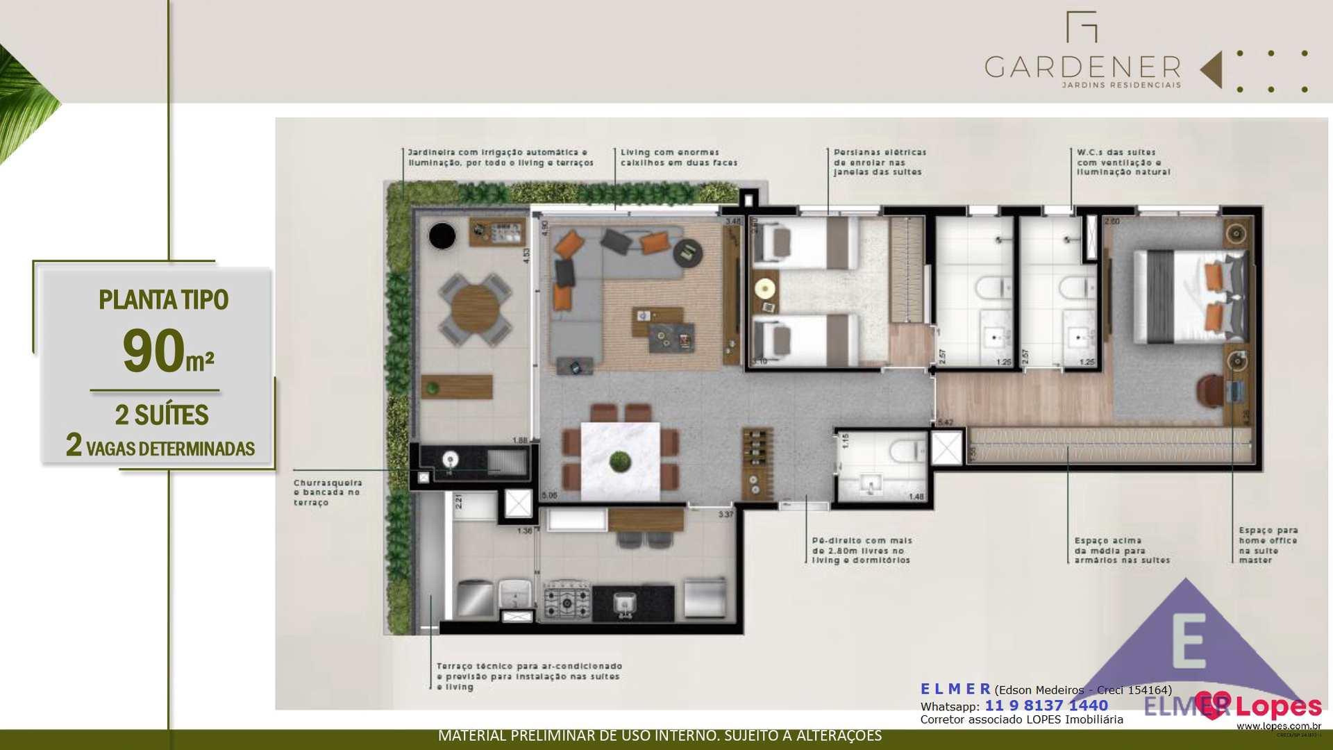 Planta tipo 90 m² - GARDENER - Elmer