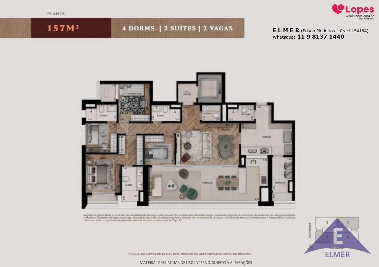Planta 157 m² 4 dorm - Gravura Perdizes - Elmer
