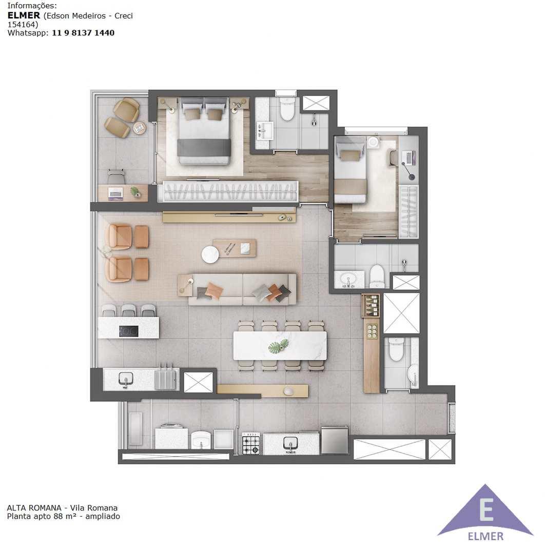 Planta 88 m² - Ampliado - ALT A ROMANA - Elmer