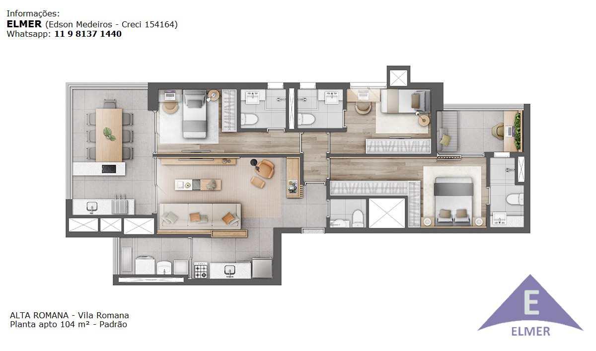 Planta 104 m² - Padrão - ALTA ROMANA - Elmer