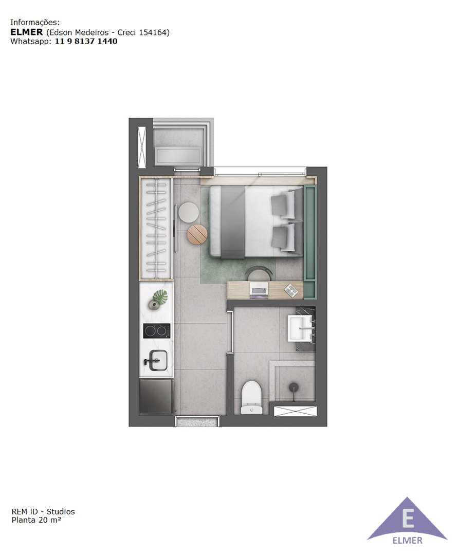 Planta 20 m² - Studio - REN iD - Elmer