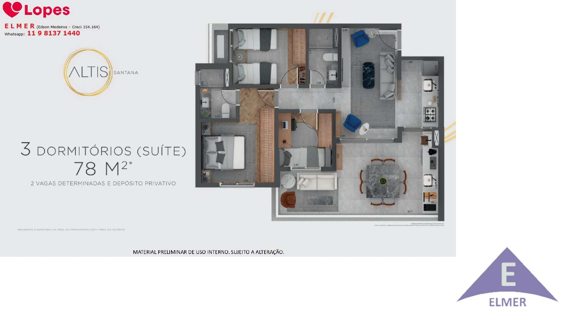 Planta 78 m² - ALTIS SANTANA - Elmer