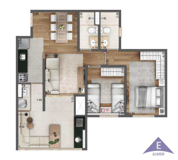 LIVING NORD VIEW - Planta 67 m²